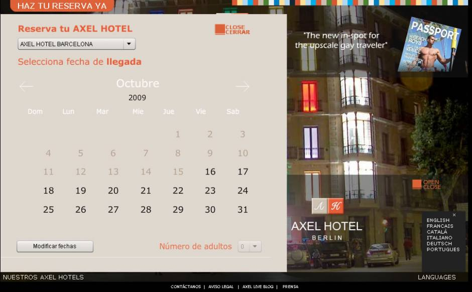 Hotel Axel reservation calendar